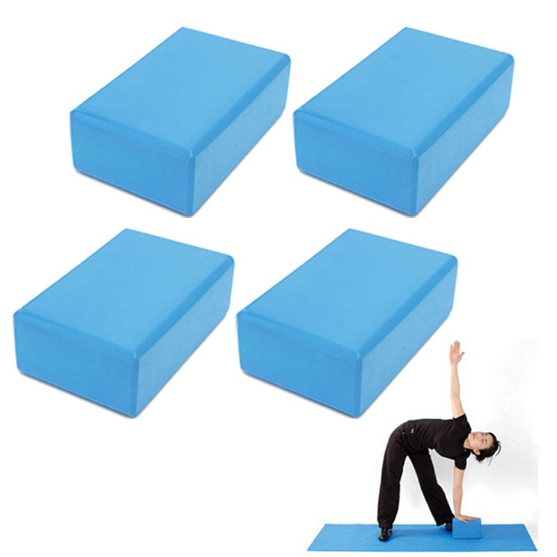 Bloco Pilates Yoga Eva Fitness Kit 4 Azul Impermeavel Exercicio Ginastica