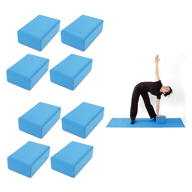 Bloco Pilates Yoga Eva Fitness Kit 8 Azul Impermeavel Exercicio Ginastica