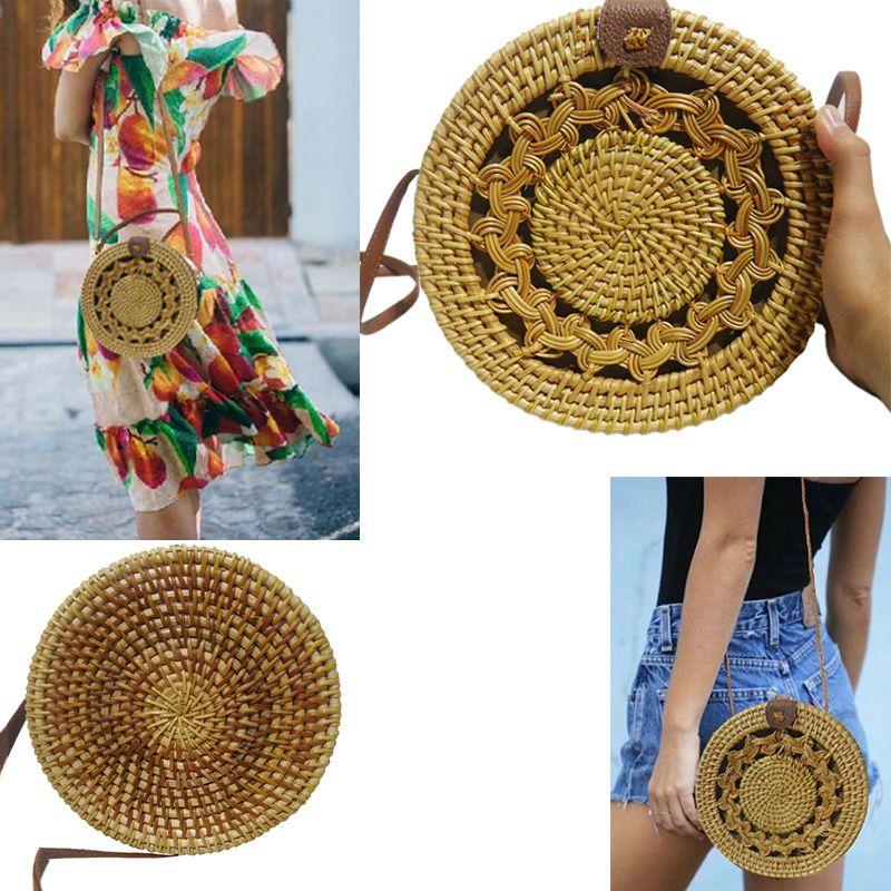 Bolsa de Ombro Rattan Bali Redonda Palha Moda Tendencia Verao