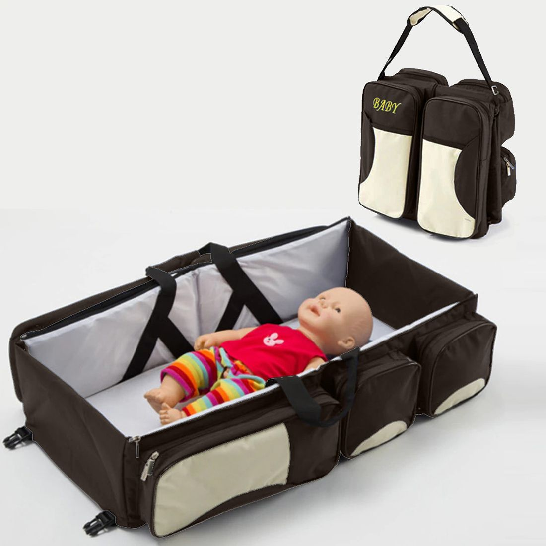 Bolsa Maternidade Berço Trocador Bebe Cama Viagem Marrom Multifunção