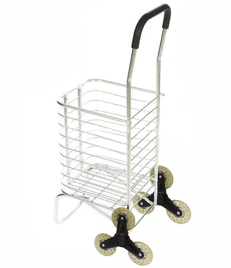 Carrinho De Aluminio Com 6 Rodas Dobravel Compras Sobe Escada