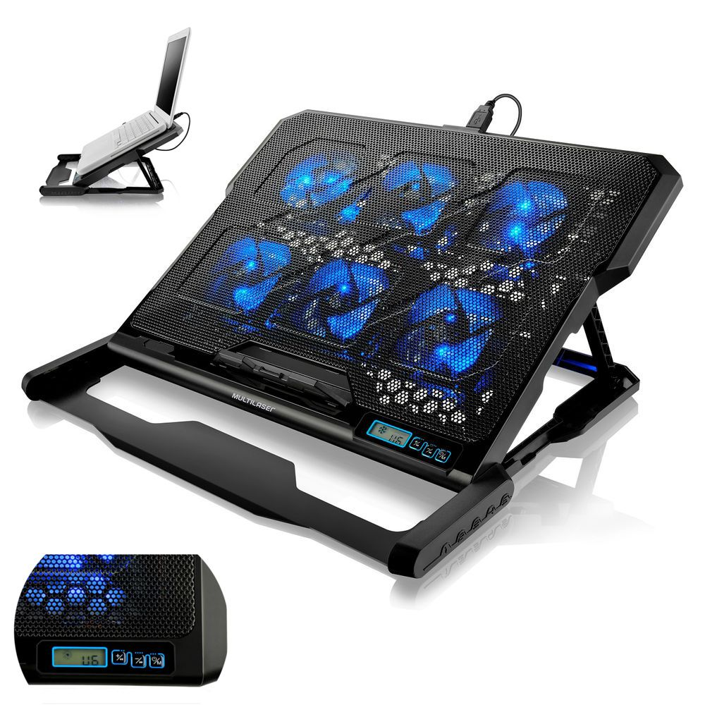 Cooler Notebook Laptop 6 Coolers LED Azul Base Suporte Gamer