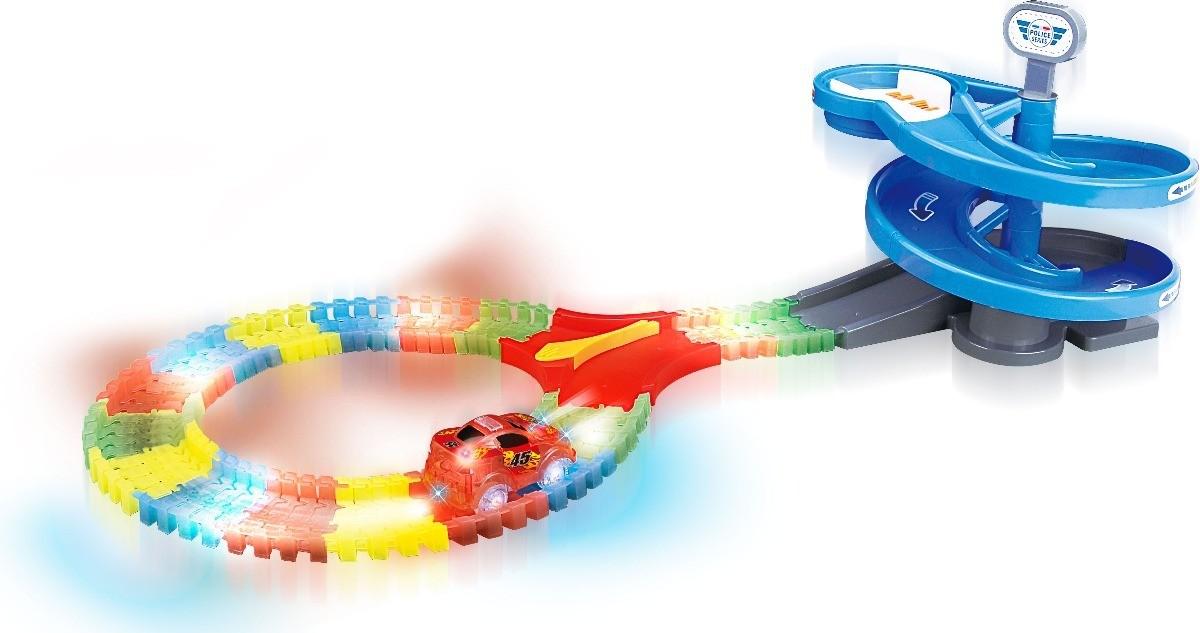 Pista Maluca Flash Track Flexivel 64 Pç Brilha Escuro Carrinho Criança (DMT5352)