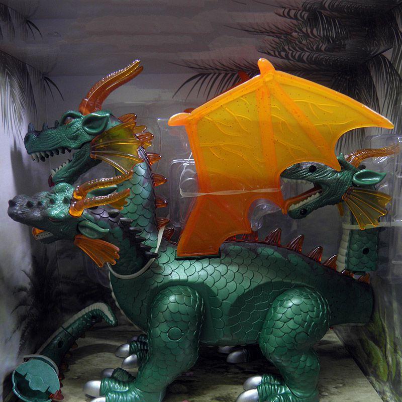 Dragao Dinossauro Tres 3  Cabeças Luz Som Anda Asas Brinquedo