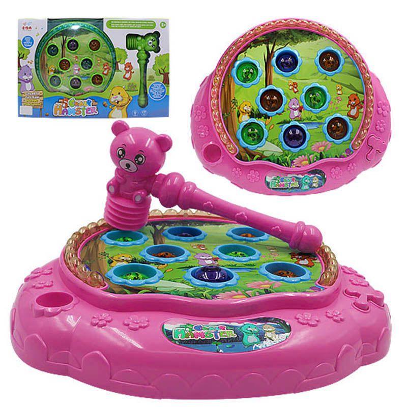 Jogo Bate Martelo Eletronico Som e Luz Hamster Crianca Brinquedo infantil (SD17510)