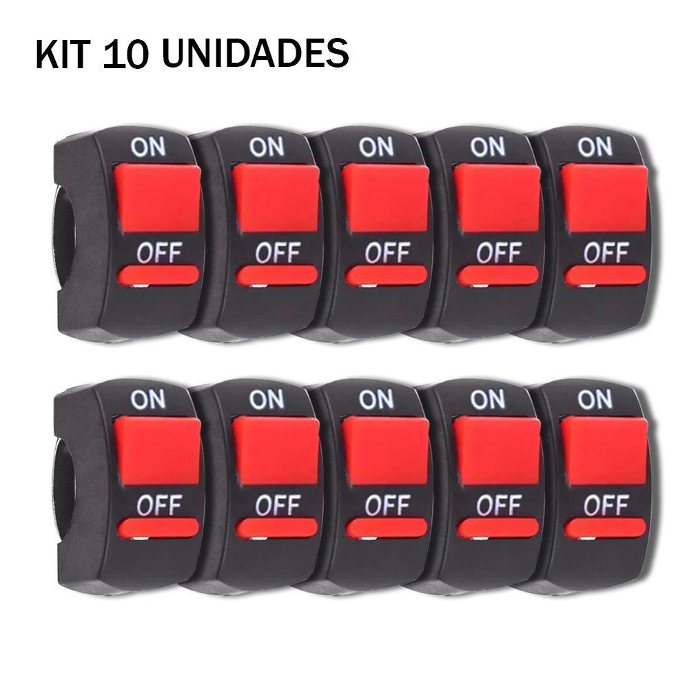 kit 10 Interruptores Moto Liga Desliga Farol De Milha