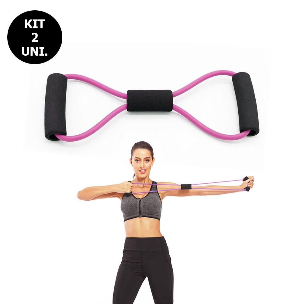 Kit 2 Elasticos Extensores Academia Tonificaçao Exercicio Casa Ginastica Yoga Fitness Intensidade Pilates