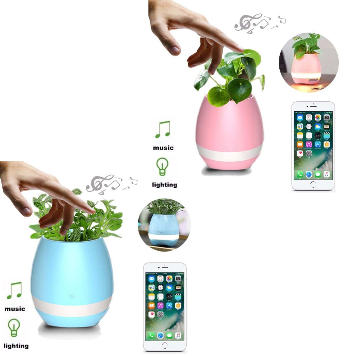 Kit 4 Vaso de Planta Musical Bluetooth Som Recarregavel