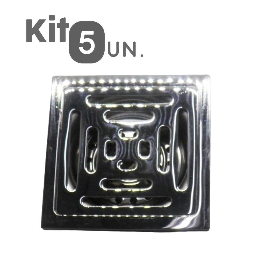 Kit 5 Ralos Inteligente Anti Odor Insetos Aço Inox Banheiro Casa 10X10