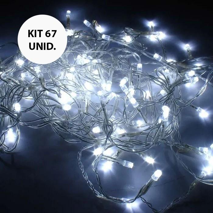 Kit 67 UNI Pisca Pisca Branco de Led Natal Natalino 100 Lampadas de Led Enfeite Decoracao