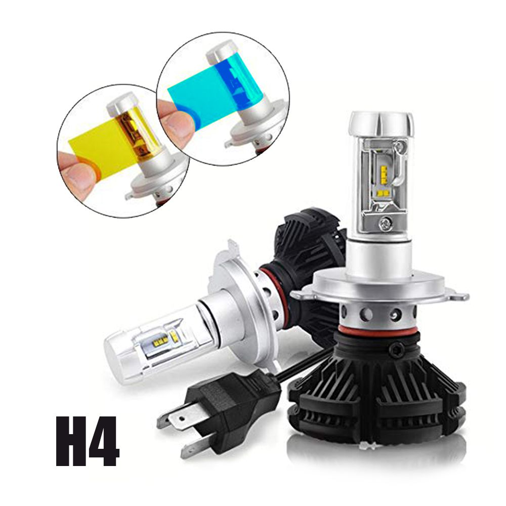 Kit Farol Led H4 Resistente Agua Automotivo 3 Cores Lampadas Carro