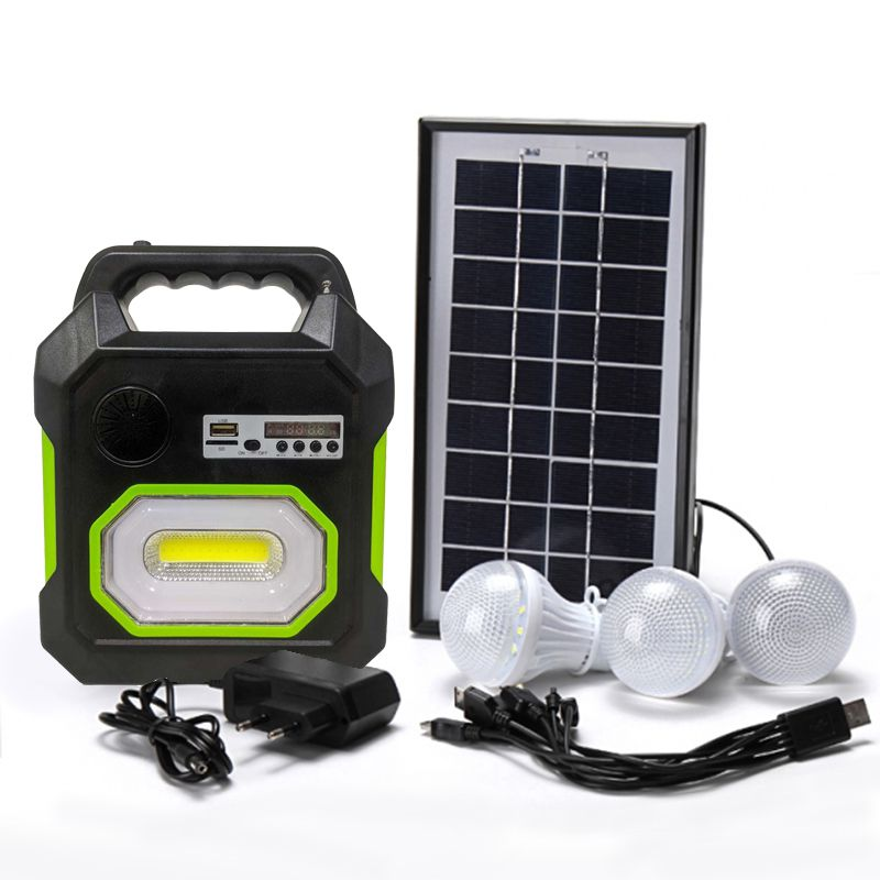 Kit Luminaria Placa Solar Bluetooth Radio FM USB Micro SD Lanterna 3 Lampadas