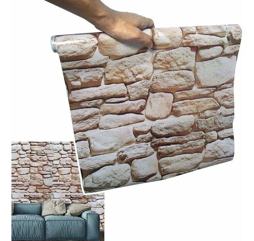 Kit Papel De Parede 12 Unid Pedra Marrom Claro Autoadesivo