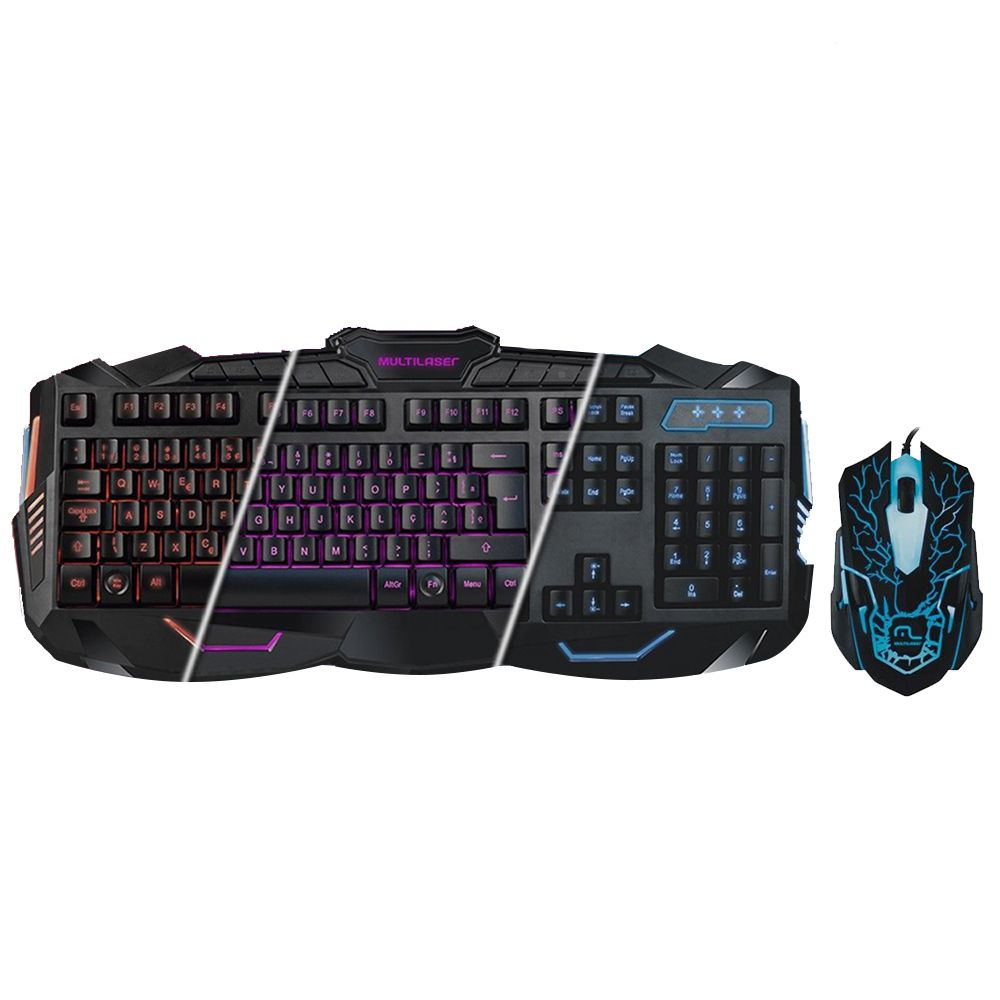 Kit Teclado E Mouse Led Gamer 2000dpi Usb Com Fio Game (TC195)