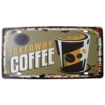 Placa Decorativa de Metal Alto-Relevo Vintage Retro Takeaway Coffee (93172)