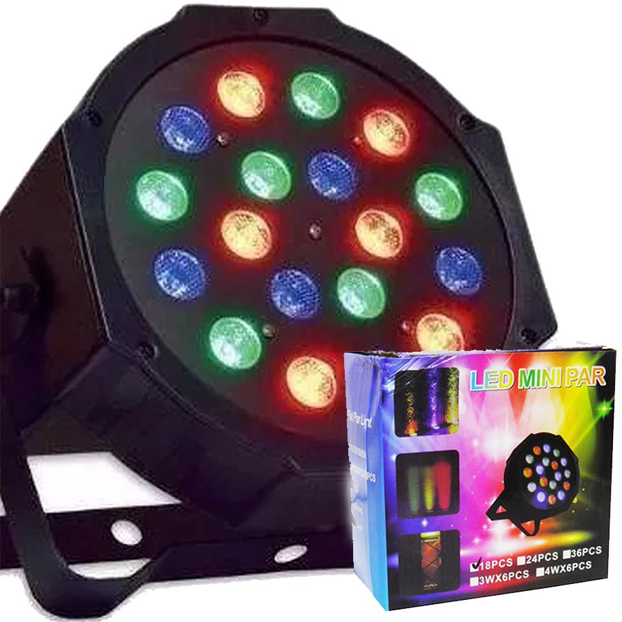 Refletor Canhao 18 Leds Display Digital RGB Mini Strobo Festas Luz Iluminacao Bivolt (Led Mini Par 18 pcs)