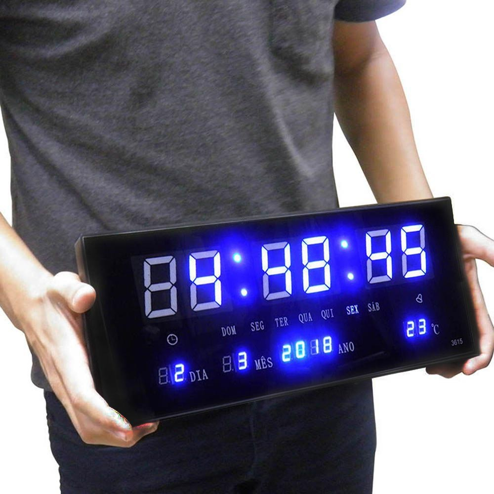 Relogio Para Parede Digital Led Calendario Hora Termo Azul (rel-56)