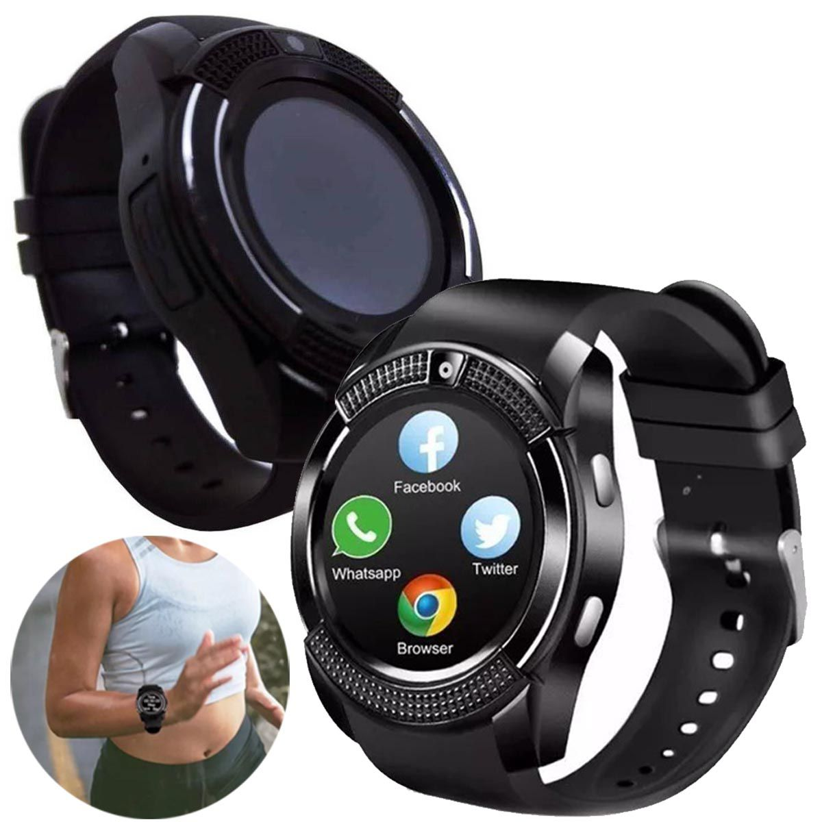 Relogio SmartWatch V8 Bluetooth Camera Celular Chip Cartao Musica Whatsapp (Smart Watch V8)