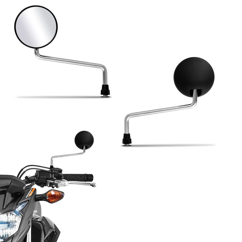 Retrovisor Moto DT 200 Haste Cromada Mini Serve em Todas Hondas Par