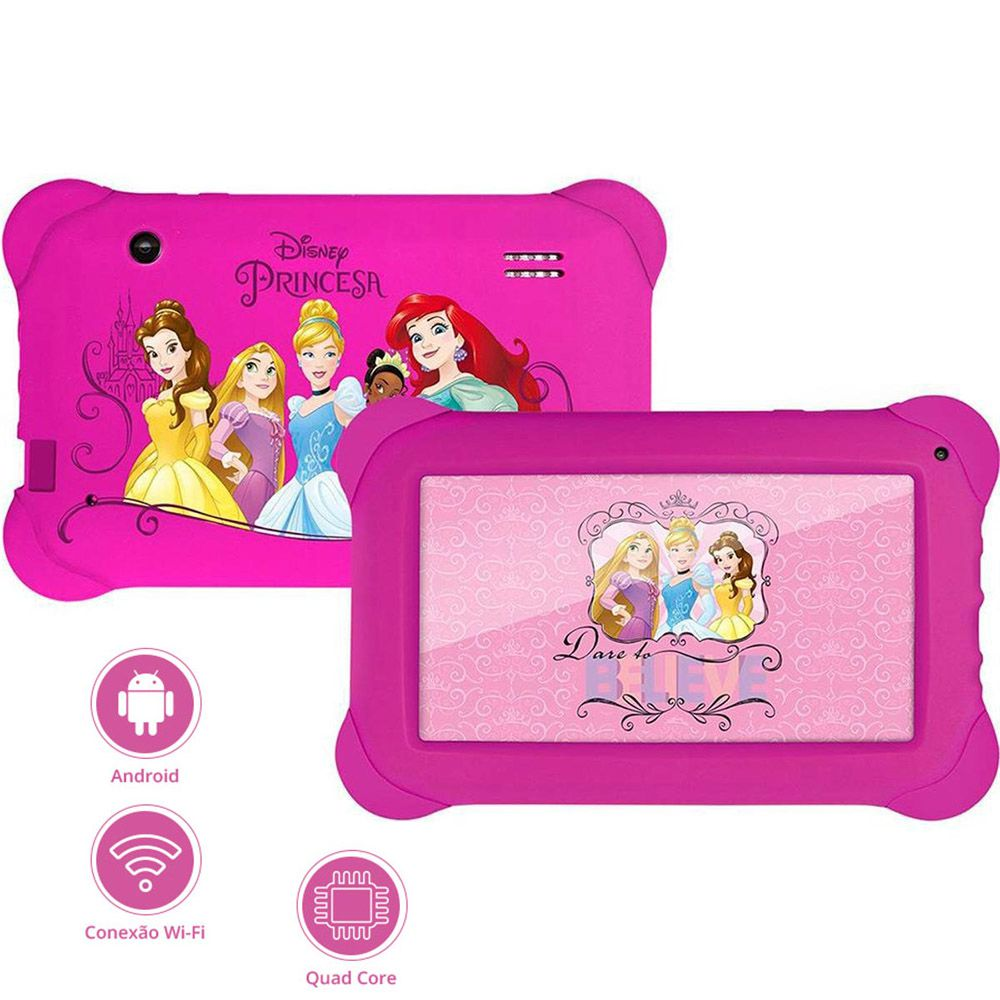 Tablet Princesas Disney Multilaser 8GB Wi-Fi Android Quad Core 7 Polegadas