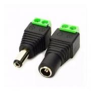 Conector Plug P4 Macho e Femea com Borne 2 Vias (Kit com 1 macho e 1 fêmea)