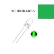 LED Alto Brilho Verde de 5MM (Kit com 10 unidades)