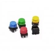 Push Button Botão Chave Táctil 12X12X7.5mm com Capa Colorida (Kit com 5 unidades)