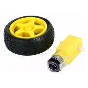 Roda / Pneu + Motor com redução Dc 3 A 6v para Carro Chassi 2WD Arduino