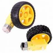 Roda Pneu + Motor com Redução para Chassi Carro 2wd (Kit com 2 conjuntos)
