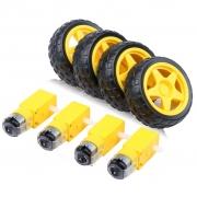 Roda Pneu + Motor com Redução para Chassi Carro 2wd (Kit com 4 conjuntos)