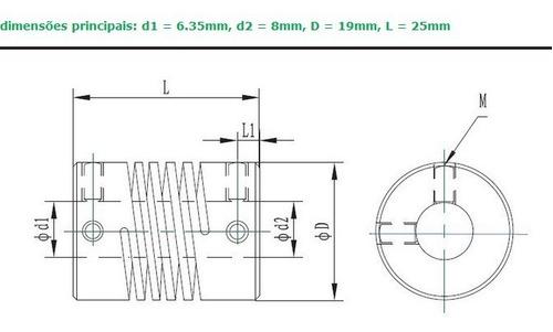 Acoplamento Flexível 6,35mm X 8mm para Cnc Router Impressora 3d