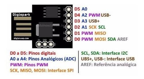 Arduino Digispark Attiny85 Usb I2c Spi Pwm Adc Robotica
