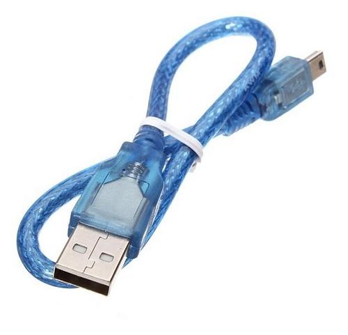 Cabo Usb 2.0 Azul de 30cm para Arduino Nano (Kit com 40 unidades)