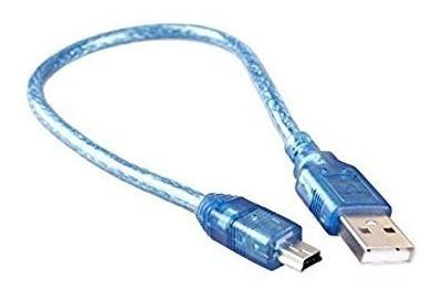 Cabo Usb 2.0 de 30cm Azul para Arduino Nano
