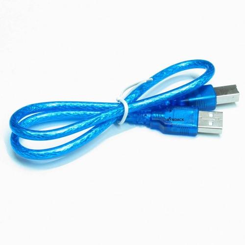 Cabo Usb Padrão A/b 30 Cm Azul Para Arduino Uno ou Mega