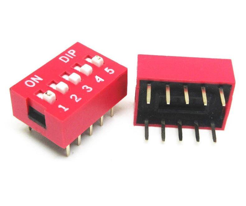Chave Seletora DIP Switch 5 Vias 180 Graus