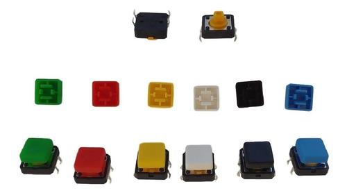 Chave Táctil Push Button Botão com Capa Quadrada (Kit com 10 unidades)