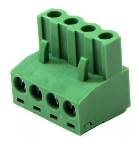 Conector Borne Verde Femea para de Fio 2,5 Mm Espaçamento 5,08 com 4 Vias