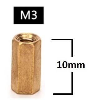 Espaçador de Coluna Standoff Sextavado Bronze M3 X 10mm Fêmea