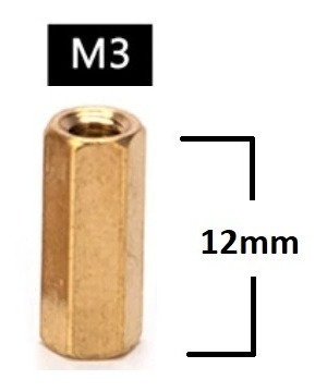 Espaçador de Coluna Standoff Sextavado Bronze M3 X 12mm Fêmea
