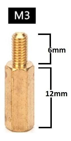 Espaçador de Coluna Standoff Sextavado Bronze M3 X 12mm Macho x Fêmea