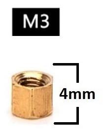 Espaçador de Coluna Standoff Sextavado Bronze M3 X 4mm Fêmea