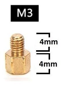 Espaçador de Coluna Standoff Sextavado Bronze M3 X 4mm Macho x Fêmea