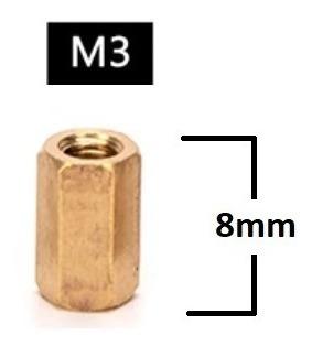 Espaçador de Coluna Standoff Sextavado Bronze M3 X 8mm Fêmea