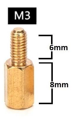 Espaçador de Coluna Standoff Sextavado Bronze M3 X 8mm Macho x Fêmea