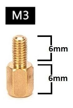 Espaçador De Coluna Standoff Sextavado Bronze M3 X 6mm Macho x Femea