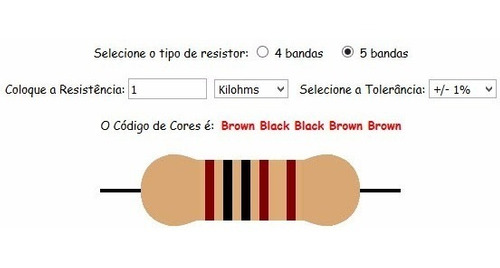Resistor 1k Ohm 1/4w 1% (Kit com 10 unidades)