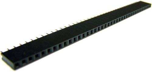 Barra De Pinos Reta Header Femea 1x40 2,54mm 180° (Kit com 5 unidades)