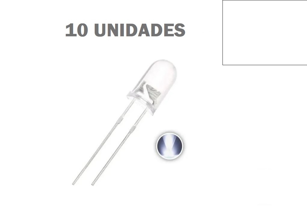 LED Alto Brilho Branco de 5MM (Kit com 10 unidades)