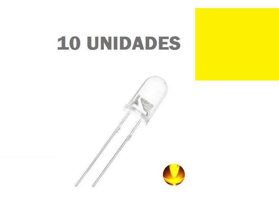LED de Alto Brilho Amarelo de 5mm (kit com 10 unidades)